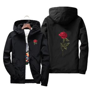 Embroidery Rose Coats Jacket Men Varsity Hooded Autumn Zipper Jackets Mens College Bomber Track Streetewear Women Windbreaker Clobk