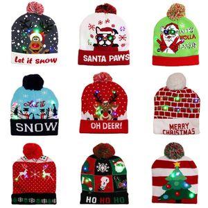 Рождественские украшения Поставки Светодиодные Шляпы Взрослые Дети Вязаные Шапки Красочные Светящиеся Высококачественные Шляпы Halloween День святого Валентина и Новогодние подарки