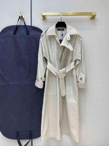 21SS дизайнерские женщины Милана взлетно-посадочная полоса траншеи пальто отвороты шеи с длинным рукавом бренда же стиль траншея пальто женщин дизайнерские пальто