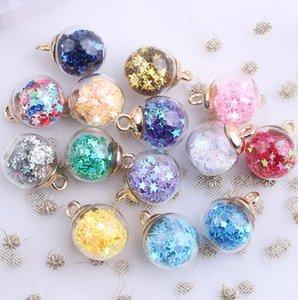 Color transparente estrella lentejuelas cristal cristal bola de cristal encantos bricolaje pendiente a mano pendientes joyería oreja