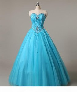 2021 New Sweetheart Blue Quinceanera Dresses Ball Gown Tulle Beaded Crystal Sweet 16 Dress Lace Up Floor Length Pageant Prom Party Gown