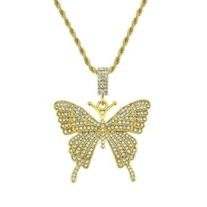 Hip Hop Iced Out Butterfly Pendant Necklace Mens Women Bling Rapper Singer Chain Jewelry Necklaces