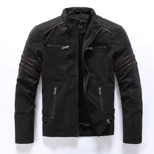 Autumn Winter Men's Leather Jacket Casual Fashion Stand Collar Motorcycle Jacket Men Slim High Quality PU Leather Coats