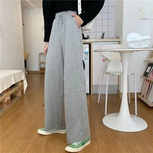 Summer Loose Women's Wide Leg Pants Fashion Solid Casual High Waisted Drawstring Trousers Palazzo Pant Grey Long
