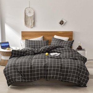 Bedding Sets Simple Set Plaid Quilt Cover Stripe Pillowcase Comfortable Household Product Breathable Bedclothes Soft Fabric For Home