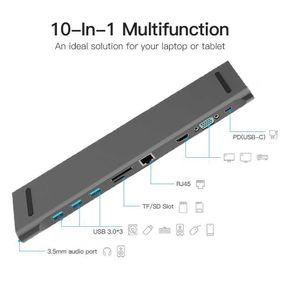 NEW 10 in 1 HUB 4K USB Type-C to USB 3.0 TF VGA RJ45 Mini DP Docking Station or Huawei Samsung Xiaomi