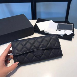 Fashion Selling Classic channe wallet Women Top Quality Full Leather Luxurys Designer bag Gold and Silver Buckle Coin Purse Card Holder With box