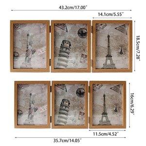 Cadre à trois côtés rétro à double face Triple-Fold Cocher Article à charnière avec des cadres G