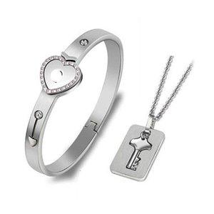 Fashion Concentric Lock Couple Bracelet Stainls Steel Key Necklace Wholale