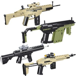 Series Desert Eagle Pistol MK14 Rifle Gun Model Building Blocks Can Shoot Bullet Vector Guns Bricks Toys For Boy Adult