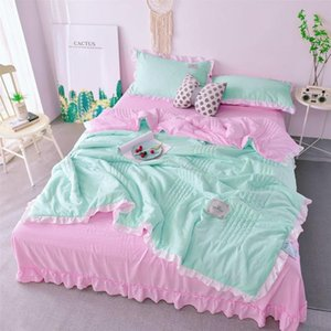 Comforters & Sets Pure Color Lace Summer Cool Quilt Air-conditioning Single And Double Washable Cotton Thin Machine