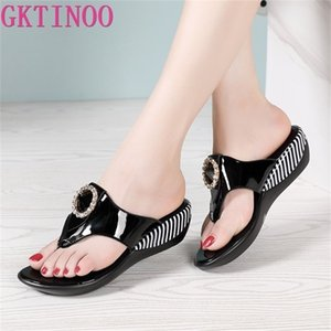 GKTINOO Women Shoes Summer Genuine Leather Beach Sandals Wedge Platform Slippers Flip Flops For 210622