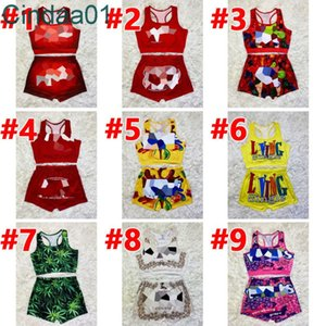 Women Tracksuit 2 Piece Set Shorts Yoga Pants Outfits Designer Cartoon Letters Pattern Printed Casual Ladies Clothing Suspenders Tops Suit