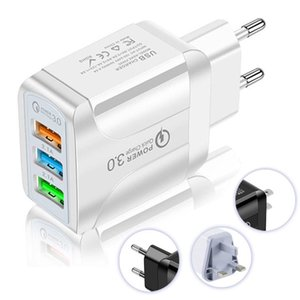 Phone Fast Charger 5V 2.4A 3 USB ports For iPhone Samsung Xiaomi Huawei android mobile Charging US EU UK QC 3.0 Travel Home Wall Chargers Power Adapter Plug with box DHL