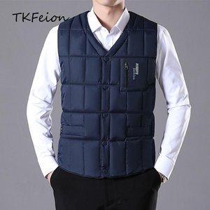 Men's Vests Mens Winter Vest Jacket Coats Warm Duck Down Filler 2021 Spring Autumn Arrived Male Slim Casual Waistcoat Blue Armygreen 5XL