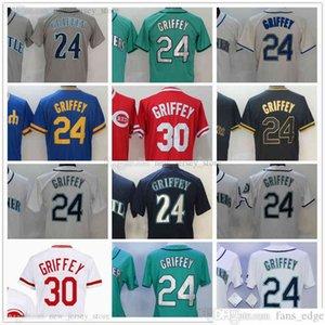 Сшитые бейсбол 24 Кен Гриффи Тдинопы Серый Серый Черный Золотой Красный Синий Джерси Белый Зеленый Для Человека Женщины Пустые Нет Номер Нет Имя