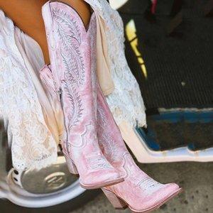 Сапоги пятки женские западные вышитые высокие сапоги, большой 2021 толстый средний размер