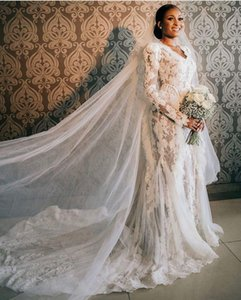 Vintage Ruffles 2021 Talla grande Mermaid Vestidos de novia Vestidos nupciales V Cuello de manga larga encaje apliquen Robe de Mariée