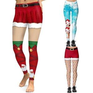 Mujeres Leggings Moda 3D Impresión digital Navidad Funny Sexy Sexy Elastic Skinny Wholesale Pantalones de mujer Capris