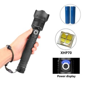 Flashlights Torches Super Bright 4 Core Xhp70 Led With Battery Display 3 Lighting Modes For Adventure, Hiking, Camping, Hunting,