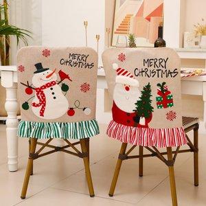 Рождественские украшения стул крышка задняя чехол снеговик оленей в лобке столовые посуды украшения вечеринка предпочтение рождестве