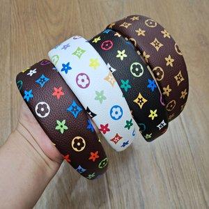 Более 20Styles Fashion Designer Бренд Оголовье Письмо Письмо Цветок PU Кожаная Печать Широкие Крутые Завязыванные Headwrow Heakhoop Headwear Аксессуары для головы