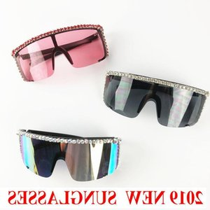 NEW Oversized Rhinestone Round Sunglasses Women Diamond Shiny Brand Glasses Designer Fashion lady Windproof Shades NX