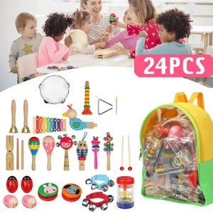 24pcs Baby Toy Music Instrument Toys Wooden Percussion Xylophone Maraca Rattles Kids Preschool Education Toys With Storage Bag
