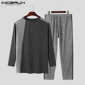 Ropa de dormir para hombres Mayor de moda Pijamas Conjuntos de manga larga O Cuello Top Pantalones de corazora 2 Piezas Ocio Acogedor de la ropa de inicio.