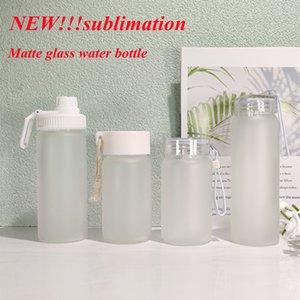 Wholesale Sublimation Frosted Water Bottle Matte Glass Water Bottles Transparent Blank Tumbler new travel mug 400ML 500ML