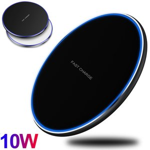 LED Light 10W Fast Quick Charging Wireless Charger Pad For Iphone 11 12 Pro Max Samsung S10 S20 S21 Android phone with Retail Box