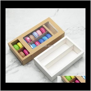 Kraft Card Paper Macaron Box Cake Boxes With Clear Window Chocolate Boxes Biscuit Muffin Box Bakeware Packaging Holiday Gift Box Sea E Jiwo1