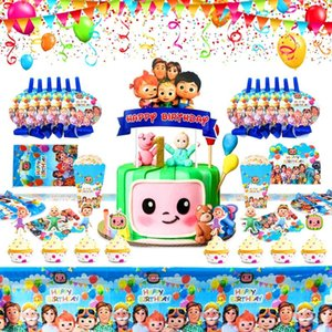 Cocomelon Theme Party Disposable knife and fork spoon Supplies Party Decoration Birthday Paper Cups Plates Toys Boy Baby Shower 1218 Y2