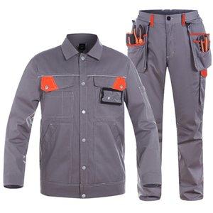 Men Carpenter Mechanic Durable Workwear Jacket Light Weight Working Clothing Suit Sets Work Pants