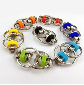 US STOCK Key Ring Fidget Spinner Party Favor Gyro Hand Metal Toy Finger Keyring Chain Toys For Reduce Decompression Anxiety