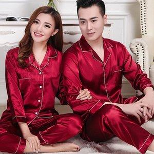 Satin Wedding Women Pajamas Set Sleepwear Red Couple Long-Sleeved Men Men's thin Silk home service two-piece suit rXHAPA9M6F9M6F9M6F