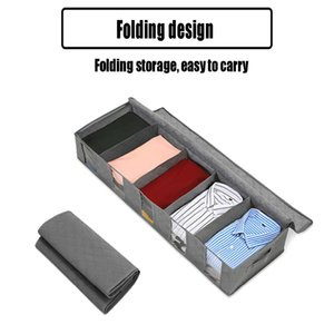 Non-Woven Bed Quilt Storage Folding Box Window Wardrobe Clothes Dust-Proof And Moisture-Proof Organizer Bag blue Grey
