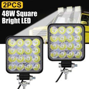 Car Headlights 2Pcs 48W Square Bright LED Spotlight Work Light SUV Truck Driving Fog Lamp For Repairing Camping Hiking Backpacking