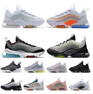 Topo Moda ZM950 Womens Mens Almofadas Correndo Sapatos ZM 950 Triple Branco Colorido Preto Japão Volt Neon Rainbow Sport Trainers Sneakers com