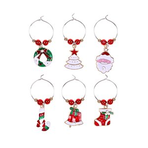Christmas Wine Glass Decoration Ring 6Pcs lot Goblet Decoration Ring Pendant Christmas Carnival Atmosphere Decorations CCF5716