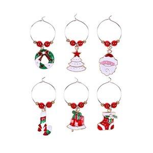 Christmas Wine Glass Decoration Ring 6Pcs lot Goblet Decoration Ring Pendant Christmas Carnival Atmosphere Decorations CCF5716