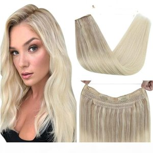 Invisible Halo Hair Extensions 100% Real Human Hair Fishing Wire with 2 Clips Machine Remy Hair #Nordic