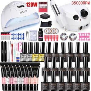 Set 120 54W nail Lamp Dryer 35000RPM drill Machine Extensions Quick Building Gel Nail Polish Manicure set