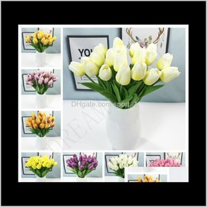 Latex Tulips Artificial Pu Flower Bouquet Real Touch For Home Decoration Cyvxc Wreaths Gjk2A