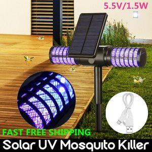 Solar Mosquito Killer Waterproof Villa Yard Garden LED Lawn Camping Lamp Large Bug Zapper Light Pest Control CCA11700 10pcs 7JPI