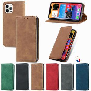 Pele sensação de couro magnético casos de couro para iphone 12 mini 11 pro max x xs xr se2 7 plus 8 6 6 6s flip retro stand cartão caça capa luxo