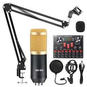 Mikrofonlar V8S Ses Kartı BM 800 Mikrofon Mikser Kiti Ses Arabirimi Telefon Bilgisayar PC Podcast Kayıt için BM800 Kondenser