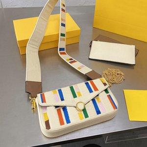 إمرأة ساحة رسول حقيبة جودة الذهب سلسلة crossbody حقيبة رفرف رسالة حرف محفظة متعدد الألوان سعة كبيرة ثلاثة قطعة مجموعة