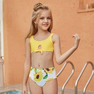 2021 Big Girls Flower Swimwear Summer children bow sports training competition Swimsuit Kids sunflower Bikini Split Swimsuit C6990