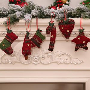 Christmas Tree Ornaments Gloves Boot Star Heart Design Pendant Home Party Xmas Hanging Decorations Kids Gift LLE10464